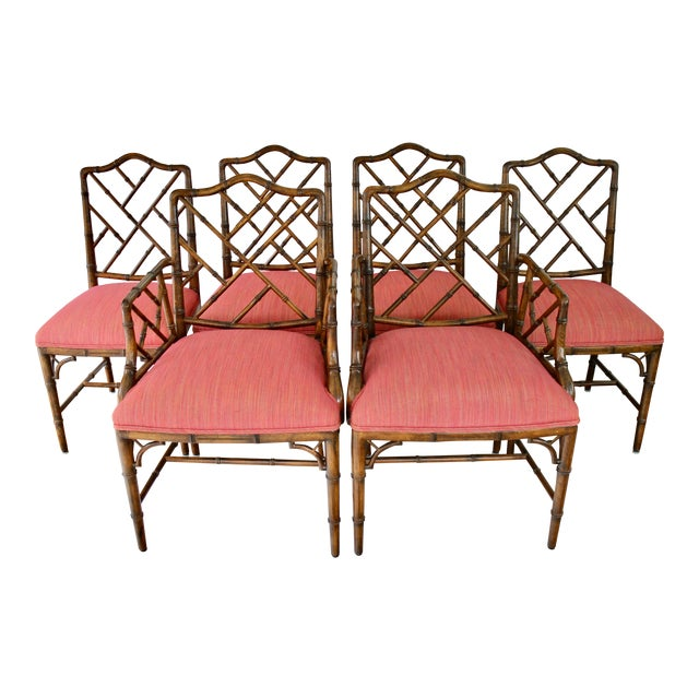 Chinese Chippendale Style Faux Bamboo, Wood Dining Chairs by Century Furniture - Set of 6 For Sale - Image 11 of 11