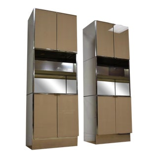 Ello Modern Chrome Bar Cabinets - a Pair For Sale