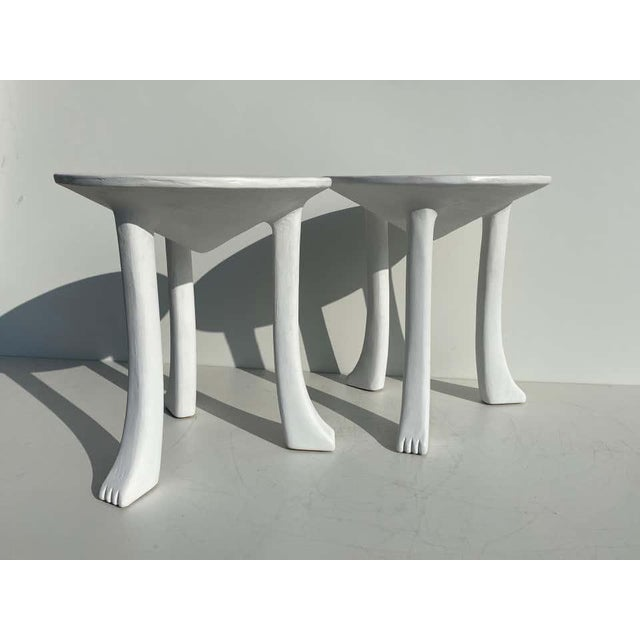 African Side Tables with Feet - a Pair For Sale - Image 12 of 12