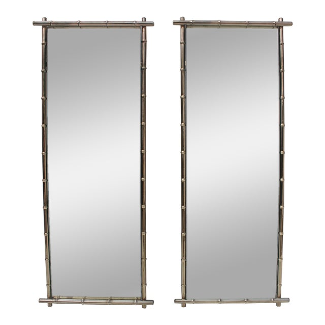 George Koch Faux Bamboo Wall Mirrors - A Pair - Image 1 of 8