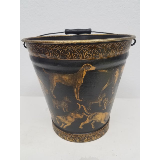 English Antique Bucket / Pail With Decoupage Dogs - Found in Southern England For Sale - Image 13 of 13