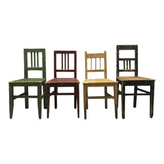 Antique Distressed Painted Accent Chairs - Set of 4 For Sale