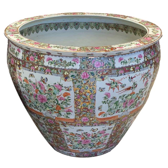 """Asian Antique Famille Rose Palace Fish Bowl 31"""" For Sale - Image 13 of 13"""