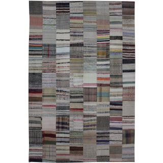 """Hand Knotted Patchwork Rug - 11'7"""" X 8'0"""" For Sale"""