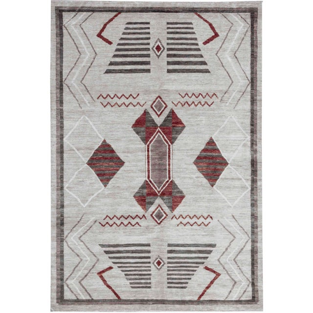Contemporary Hand Woven Wool Rug - 6'3 X 9'2 For Sale - Image 4 of 4