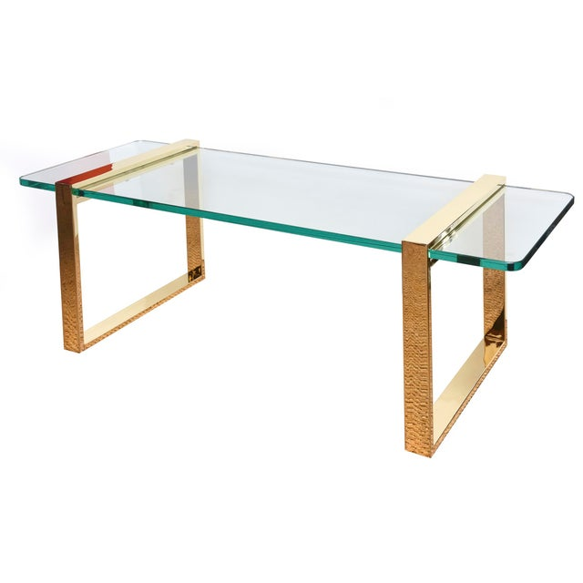 Modern 1980s Pace 24 Karat Gold Plated and Glass Rectangle Cocktail Table For Sale - Image 3 of 9