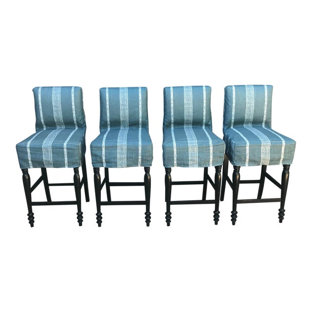Black Oak Counterstool With Carolina Irving Patmos Stripe Reverse Slipcovers - Set of 4 For Sale