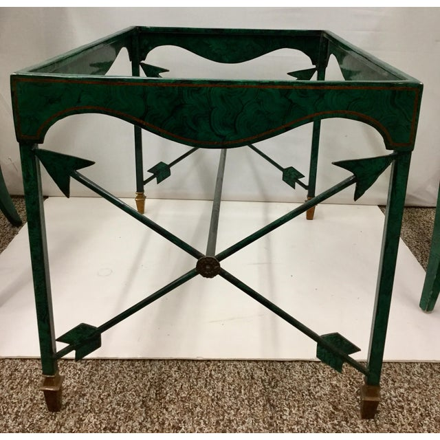 This is an artistic set of Genuine Maitland Smith Faux Malachite Furniture. Marked and complete with the original tag from...
