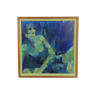 1970s Vintage Expressionist Portrait of a Man Painting For Sale