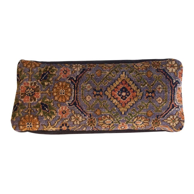 Offered is an exclusive skinny lumbar pillow featuring stunning reclaimed purple Persian rug (Biblicabad) fragment that is...
