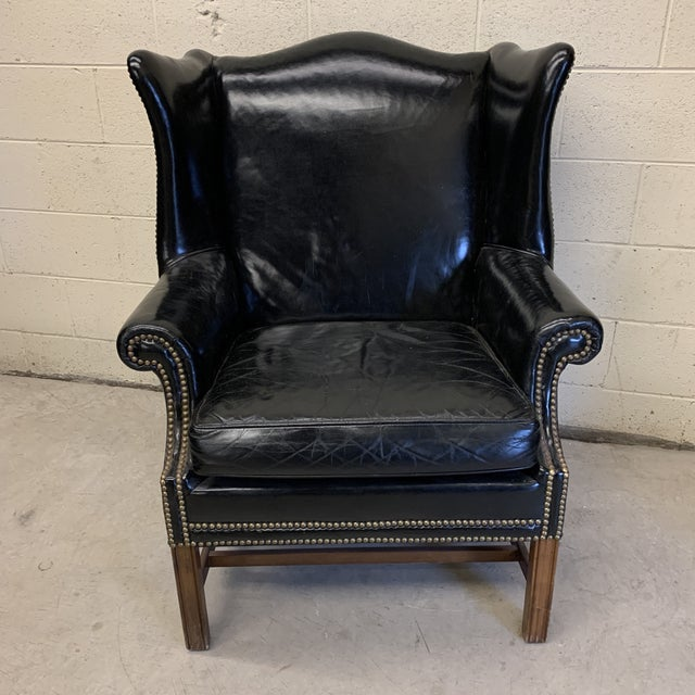 Black Leather Wing Chair For Sale - Image 13 of 13