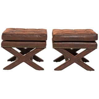 Billy Baldwin Style X-Benches - a Pair For Sale