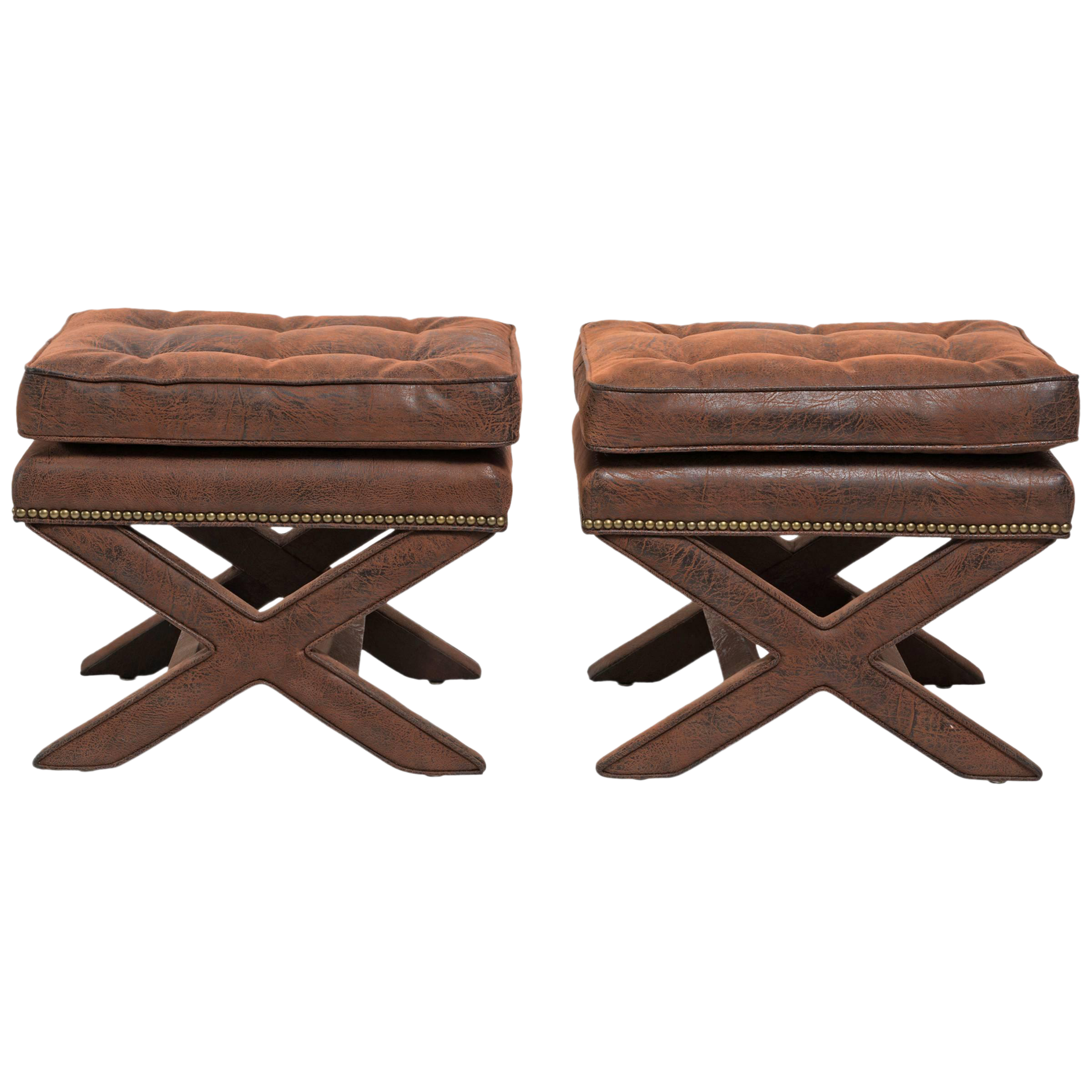 Billy Baldwin Style X Benches   A Pair