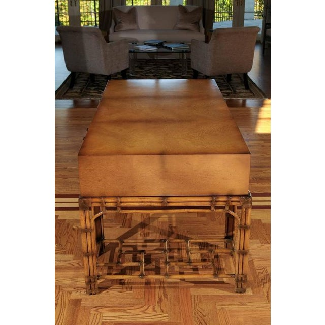 Stunning Restored Vintage Double Pedestal Campaign Desk in Birdseye Maple For Sale In Atlanta - Image 6 of 11