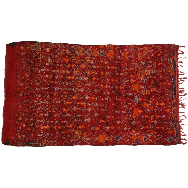 Berber Red Moroccan Rug with Modern Tribal Style, 5'10x9'8 - Image 1 of 4