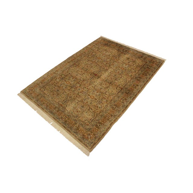 Shabby Chic Semi Antique Tabriz Pak-Persian Jerrie Tan/Lt. Brown Wool Rug - 4'0 X 6'6 For Sale - Image 3 of 8