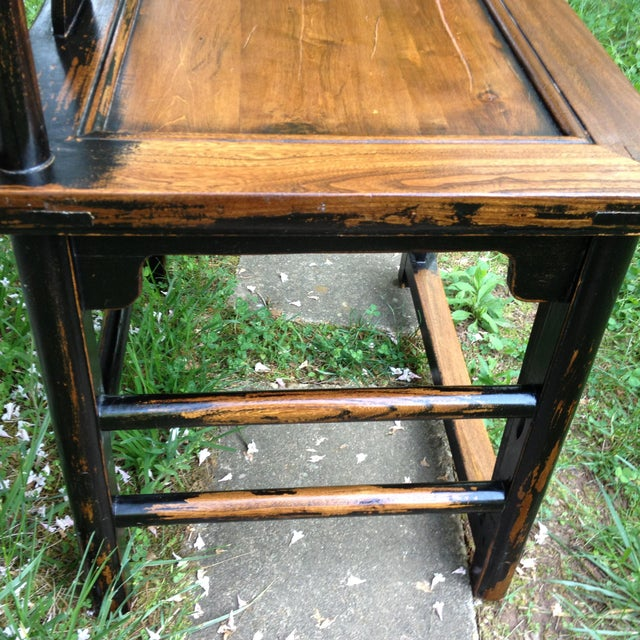 1830s Antique Qing Dynasty Teak Camphor Wood Side Chair For Sale - Image 9 of 13