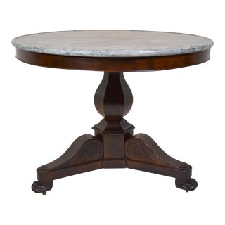 Early 1800's French Circular Mahogany Center Table W/Original Marble For Sale