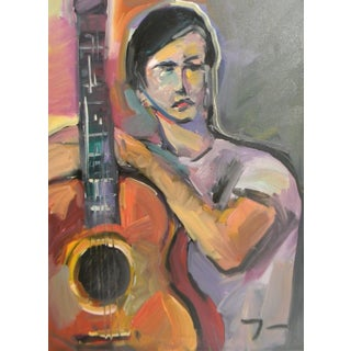 Jose Trujillo Guitarist Young Person Impressionism Original Painting For Sale