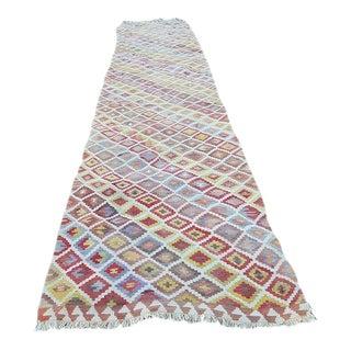 1970s Handmade Wool Multi Color Staircase Turkish Kilim Rug Runner - 3′3″ × 16′3″ For Sale