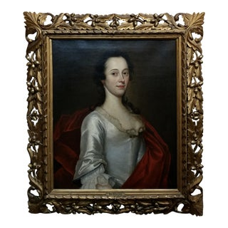 18th Century Oil Painting Portrait of an English Aristocratic Woman For Sale