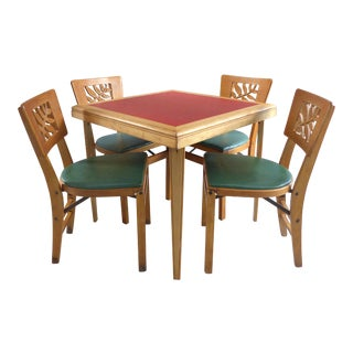 Mid Century Modern Folding Wood Card Table & Folding Chairs- Set of 5 For Sale