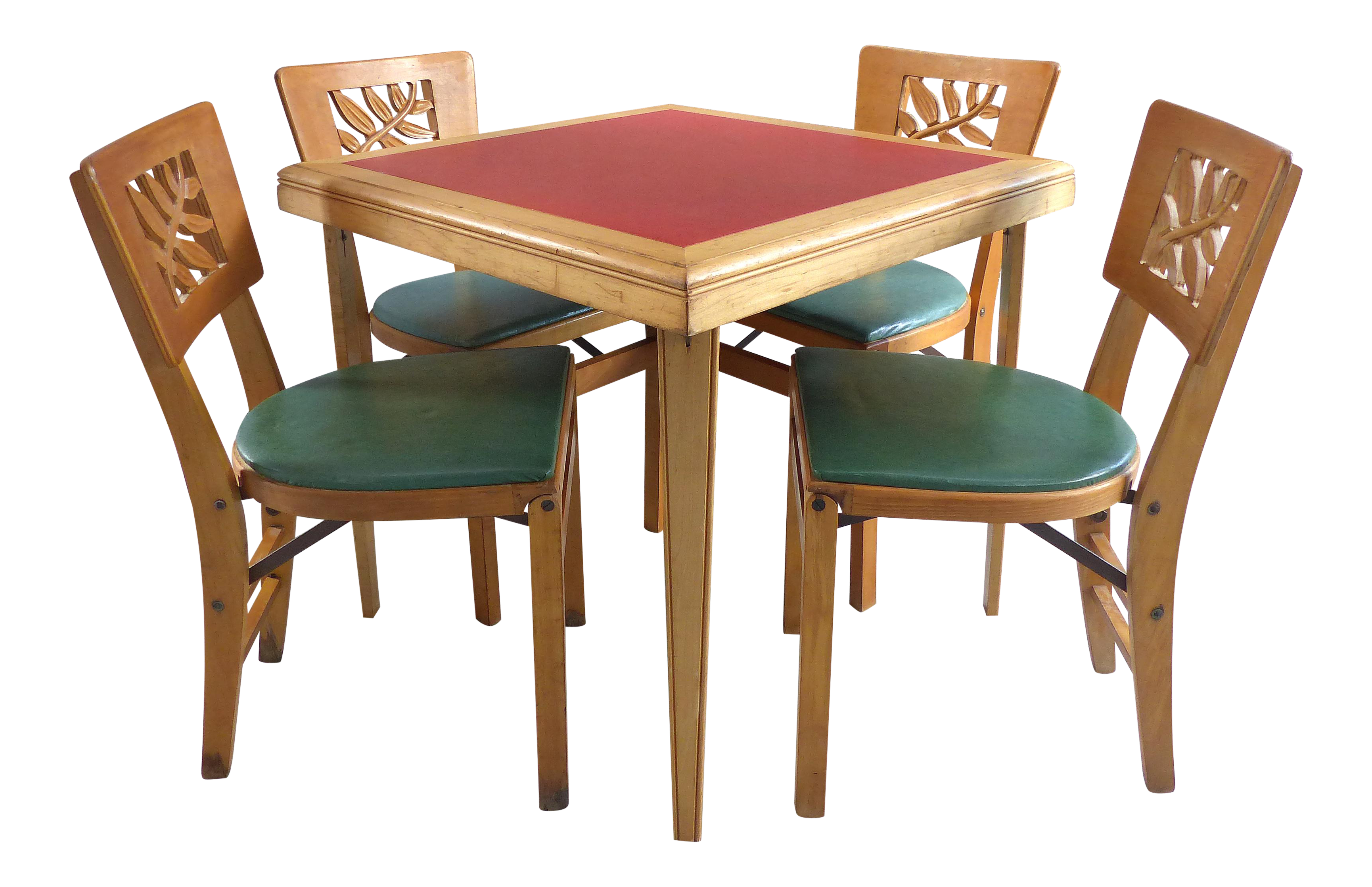 Mid Century Modern Folding Wood Card Table U0026 Folding Chairs  Set Of 5