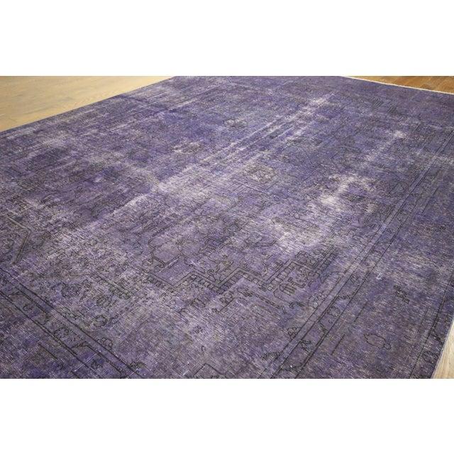 """Purple Overdyed Wool Rug - 9' 7"""" x 12' 9"""" - Image 4 of 10"""