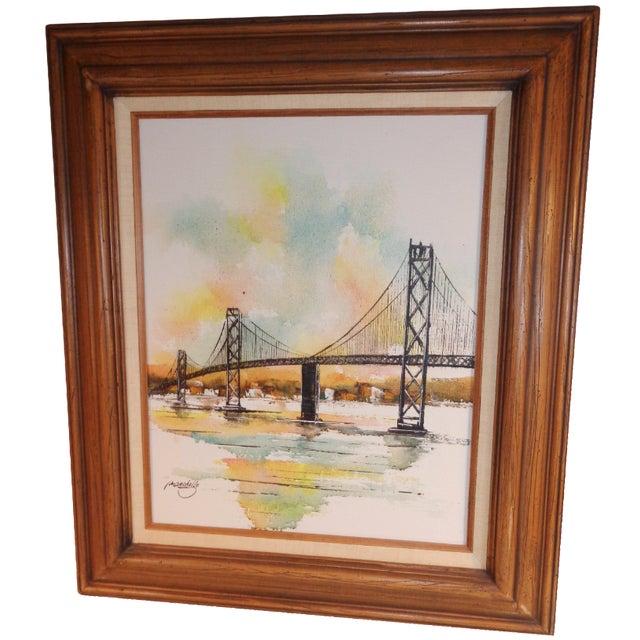 Impressionist Bay Bridge by Adriano Marchello For Sale