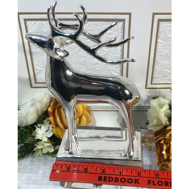 Metal Vintage Solid Reindeer Stocking Hooks Silver Plated Pair For Sale - Image 7 of 10