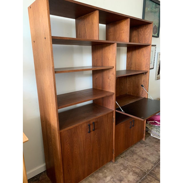 Mid-Century Walnut Shelving Unit with Desk For Sale - Image 4 of 9