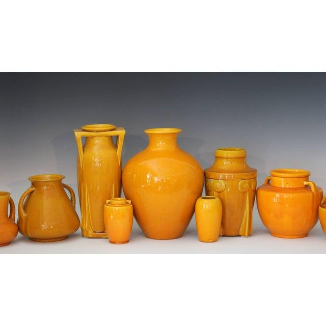 Ceramic Awaji Pottery Japanese Art Deco Vase With Bright Yellow Monochrome Glaze For Sale - Image 7 of 9