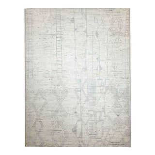 New Afghan Moroccan Style Rug With Gray Tribal Details on Ivory Field For Sale