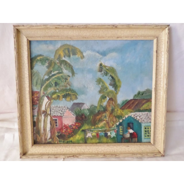 Mid-Century Island Scene Oil Painting For Sale - Image 12 of 12