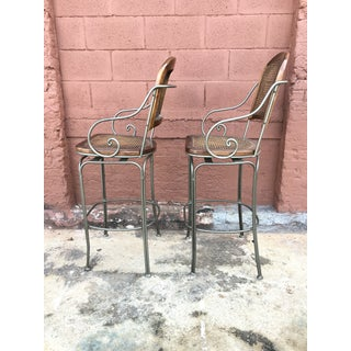 Late 20th Century Vintage Wrought Iron and Cane Back and Seat Bar Stools - A Pair Preview