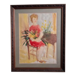 Original Watercolor - Woman With Flowers For Sale