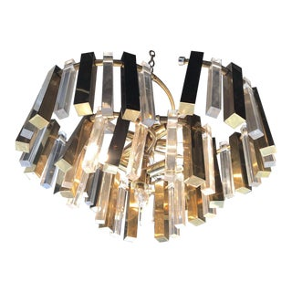 Mid-Century Brass and Lucite Chandelier For Sale
