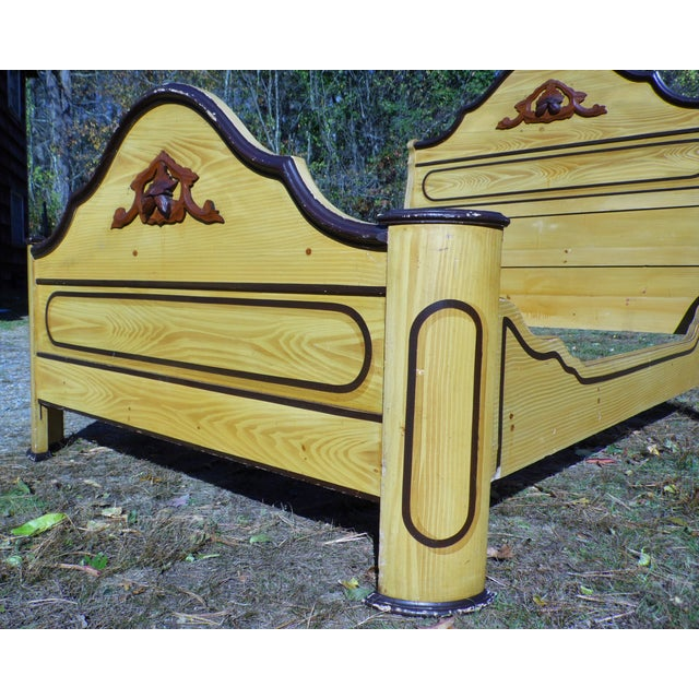 Antique Victorian Cottage Painted Double Full Size Bed American Country Folk Art For Sale - Image 4 of 11