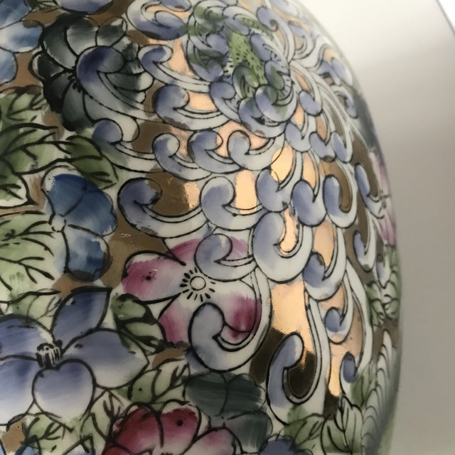 Colorful Chinoiserie Floral Ginger Jar/Vase With Gold Accents For Sale - Image 4 of 7