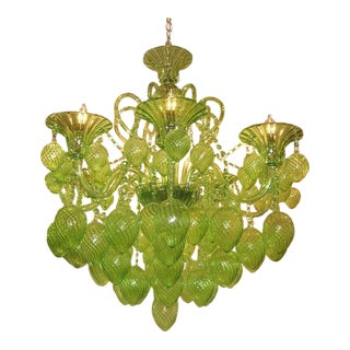 Cyan Design Bella Vetro Lime Green 8-Light Chandelier For Sale