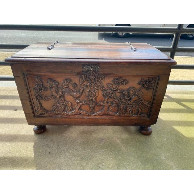 18th C. Italian Carved Trunk Miniature. beautiful piece