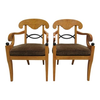 Modern Baker Furniture Biedermeier Style Dining Arm Chairs- A Pair For Sale