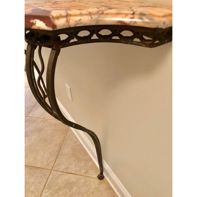Early 20th Century French Wrought Iron Art Deco Marble Top Console For Sale - Image 5 of 13