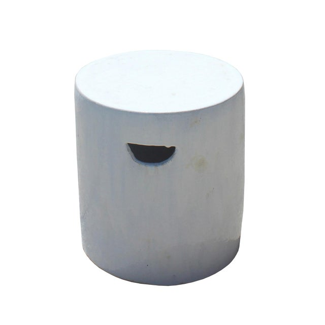 Chinese Ceramic Clay Off White Glaze Round Flat Column Garden Stool For Sale - Image 4 of 6
