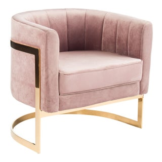 Modern Mica Gold and Mauve Club Barrel Chair For Sale