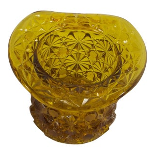 1950s Art Deco Pressed Amber Glass Top Hat Vessel For Sale