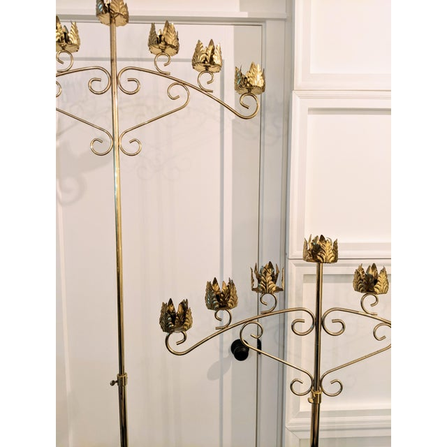 Late 20th Century Vintage Late 20th Century Brass Seven-Light Adjustable Floor Candelabras - a Pair For Sale - Image 5 of 8