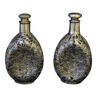 Silver Overlay Pinch Decanters - A Pair