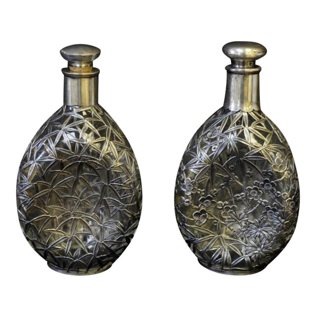 Silver Overlay Pinch Decanters - A Pair - Image 1 of 7