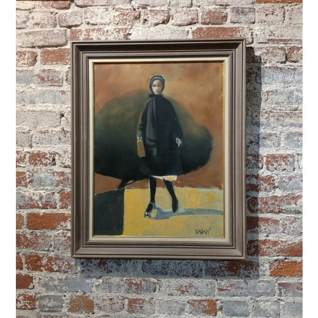 Girl with a Black Coat -1961 Mid century Modern Oil painting by Weber - Image 2 of 10